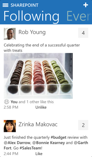 SharePoint Newsfeed Screenshot
