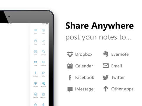 Quick Drafts for iPad - Notes, Tasks and Shopping List Screenshot