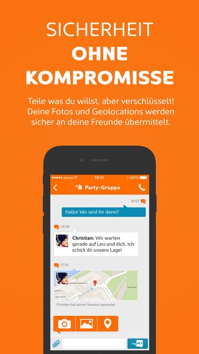 sayHEY - verschlüsselter Messenger und SMS in einem Screenshot