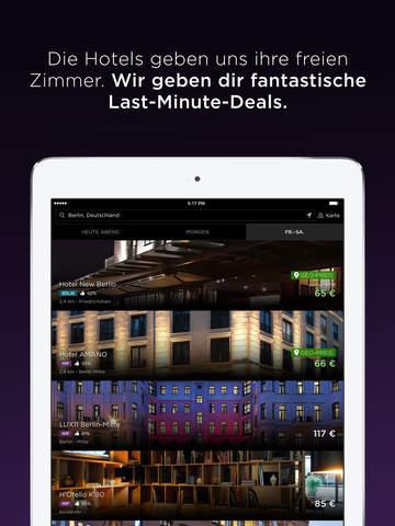 Hotel Tonight - die besten Hotels für Last Minute Buchungen Screenshot
