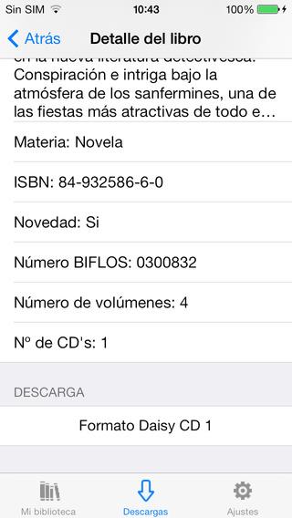 iPhone mostrando la ficha de un libro