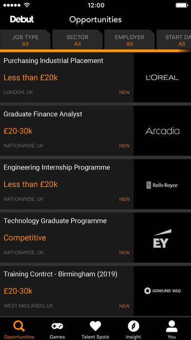 Debut - where careers find you Screenshot