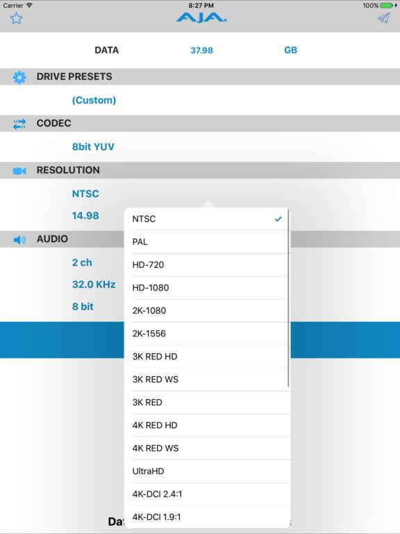 AJA DataCalc Screenshot