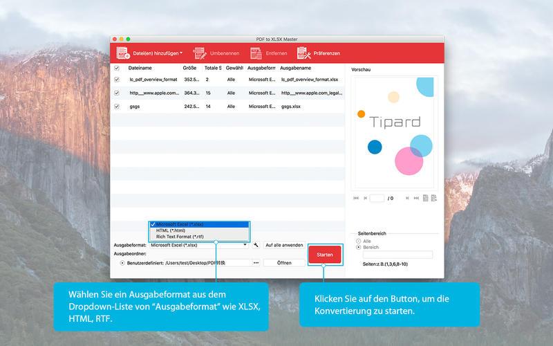 PDF to XLSX Master Screenshot