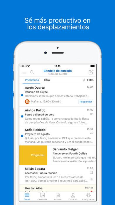 Microsoft Outlook: correo electrónico y calendario Screenshot