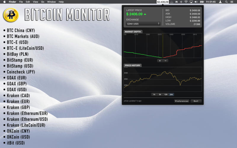 Bitcoin Monitor Screenshots