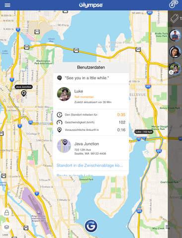 Glympse - GPS-Ort mit Familie und Freunden teilen Screenshot