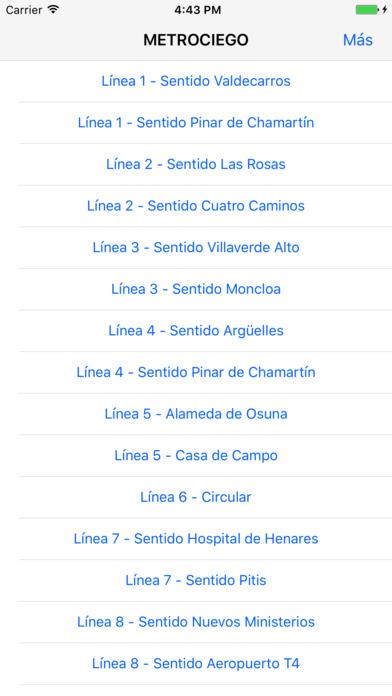 Ventana de estaciones disponibles en Metrociego Madri