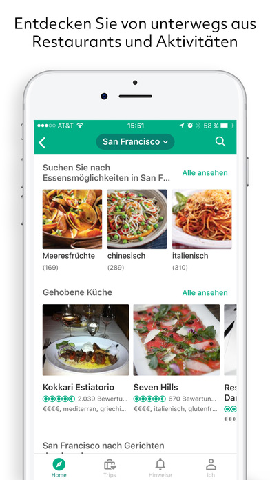 TripAdvisor Hotels Flüge Restaurants Screenshot