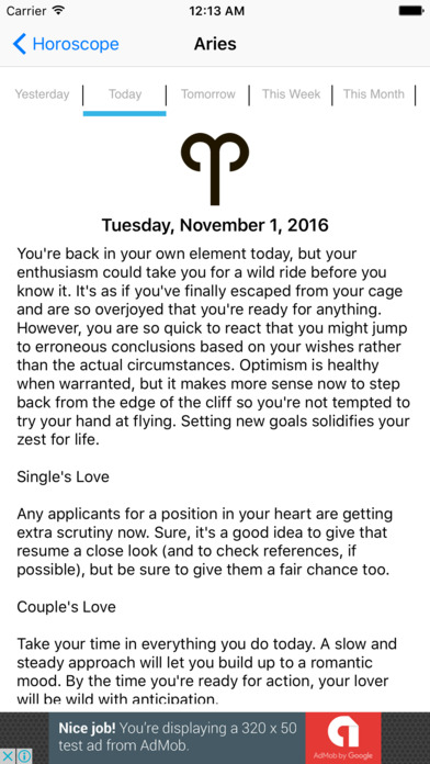 Daily Sun Sign Horoscope Screenshots