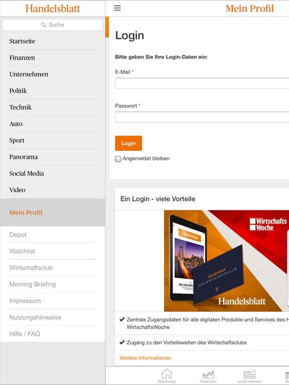 Handelsblatt Online Screenshot