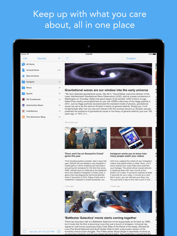 Newsify: Your News, Blog & RSS Feed Reader Screenshot
