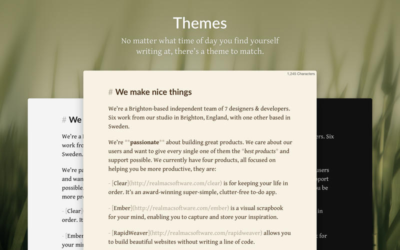 Focused - Minimal Writing app and Markdown Editor Screenshots