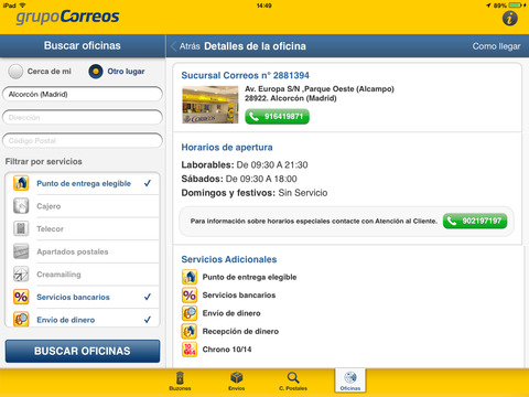 Correos info on the app store for Localizador codigos postales