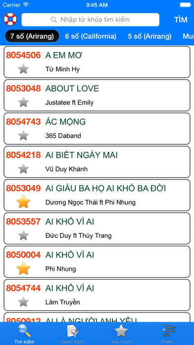 download VNKaraoke Pro - Tra cứu mã số karaoke 7, 6, 5 số Arirang, MusicCore, ViTek, Sơn Ca, Việt KTV apps 4