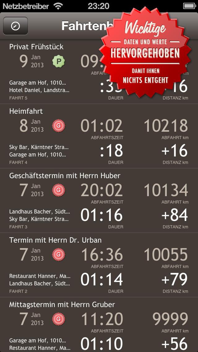 Miles Fahrtenbuch Classic mit CSV und PDF Export App iPhone Screenshot #3 (© FFWD)