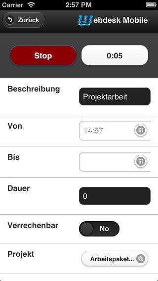 Webdesk Projecttime Mobile