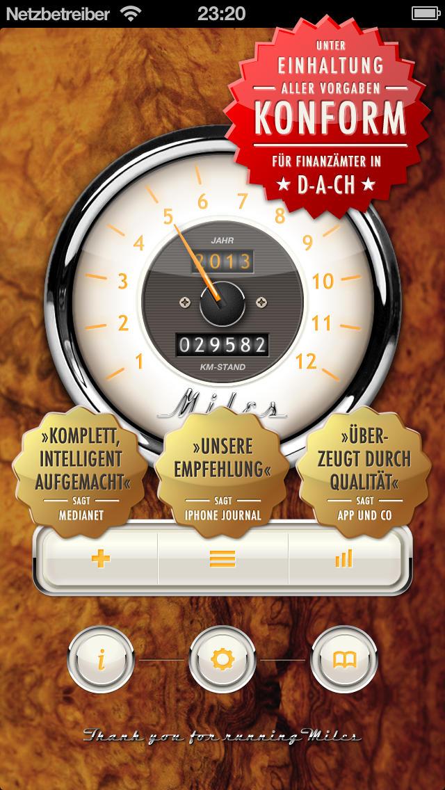 Miles Fahrtenbuch Classic mit CSV und PDF Export App iPhone Screenshot #1 (© FFWD)