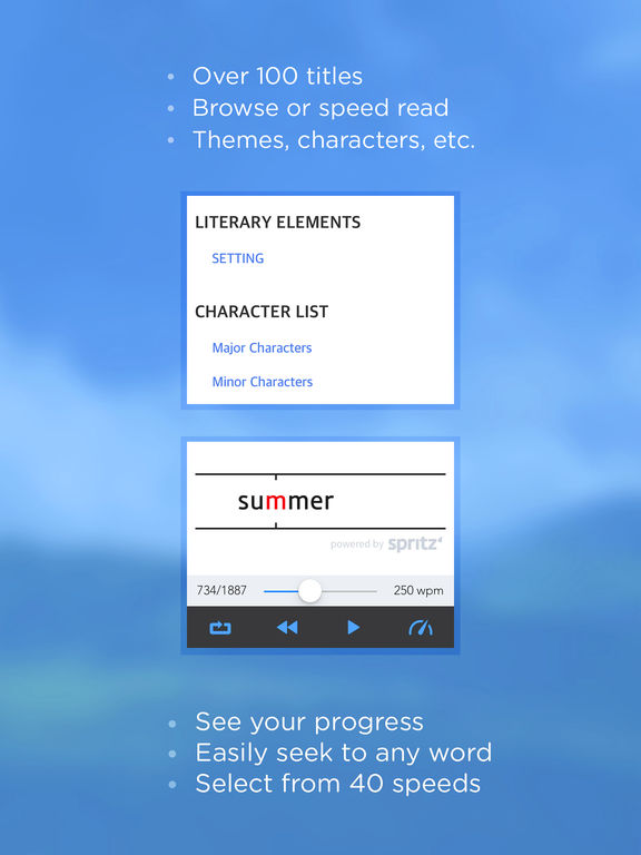 Book Notes - Summaries of Classic Literature Read Study Guides with Spritz Spark Cliffs Screenshot