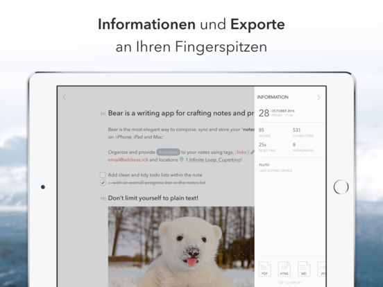Bear - Schöne Schreibapp für Notizen und Prosa Screenshot