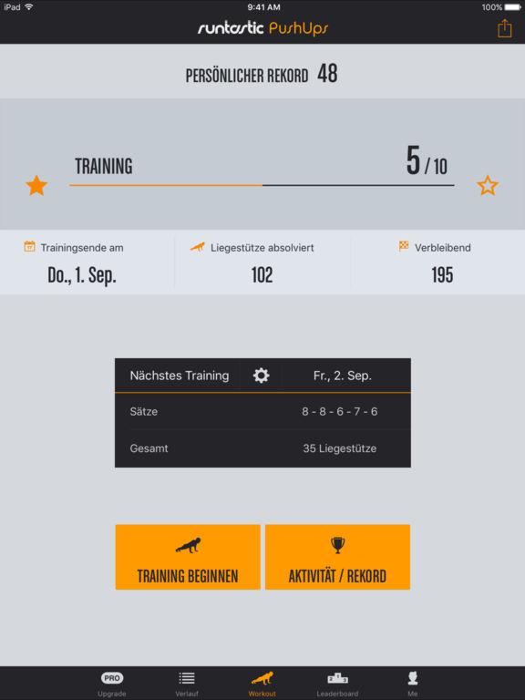 Runtastic Push-Ups Liegestütze Trainer Screenshot