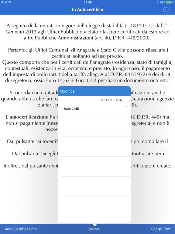 Io Autocertifico Screenshot