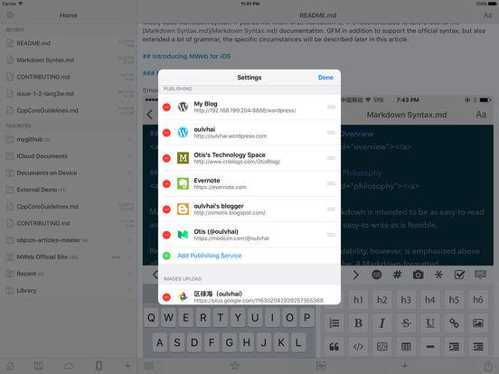 MWeb - Pro Markdown Writing, Wordpress Publishing. Screenshot