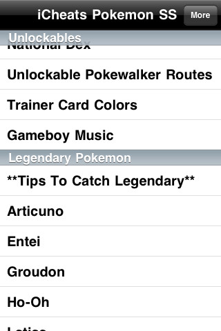 iCheats - Pokemon SoulSilver Cheats, Tips and Guide (Unofficial) iPhone Screenshot 1