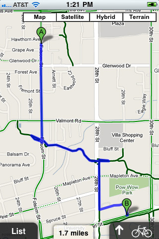 Bike Route free app screenshot 1