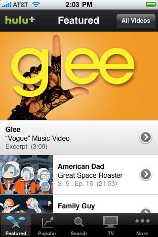 Hulu Plus free app screenshot 1