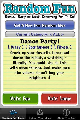 Free Random Fun Ideas free app screenshot 1