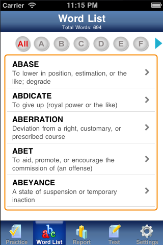 PowerVocab for GRE and GMAT Screenshot