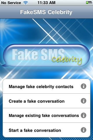 Fake Sms Celebrity iPhone Screenshots