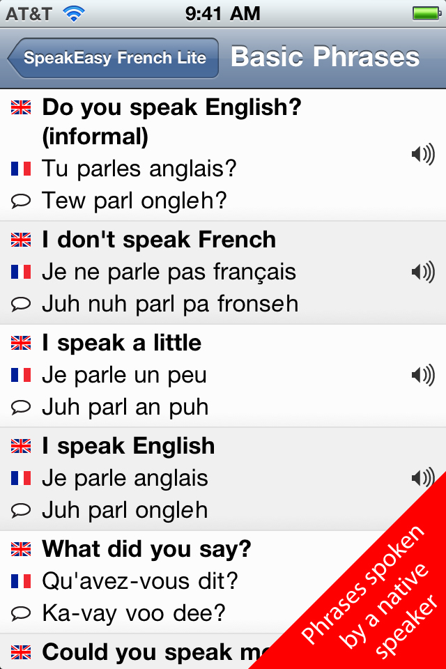 SpeakEasy French Lite - Free Travel Phrases