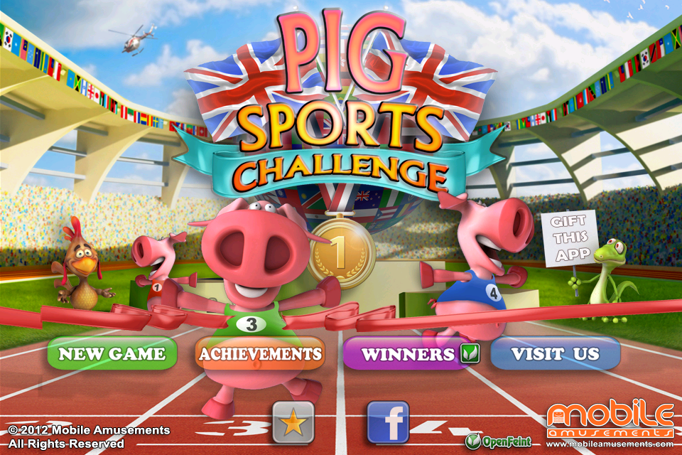 Free Pig Sports Challenge iPhone Game