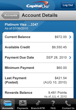 Capital One Mobile Banking screenshot 2