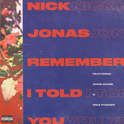 View album Nick Jonas - Remember I Told You (feat. Anne-Marie & Mike Posner) - Single