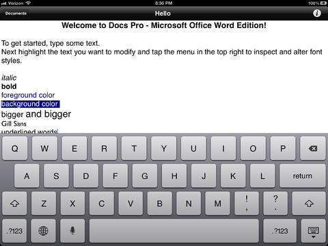 Docs Pro - Compatible with Microsoft Office Word RTF Documents A Processor To Go for iPad