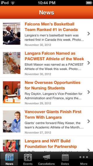 Langara iPhone Screenshot 1