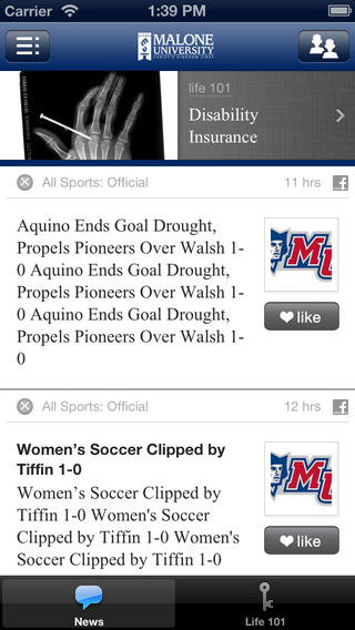 Crib Sheet for Malone University Alumni iPhone Screenshot 1