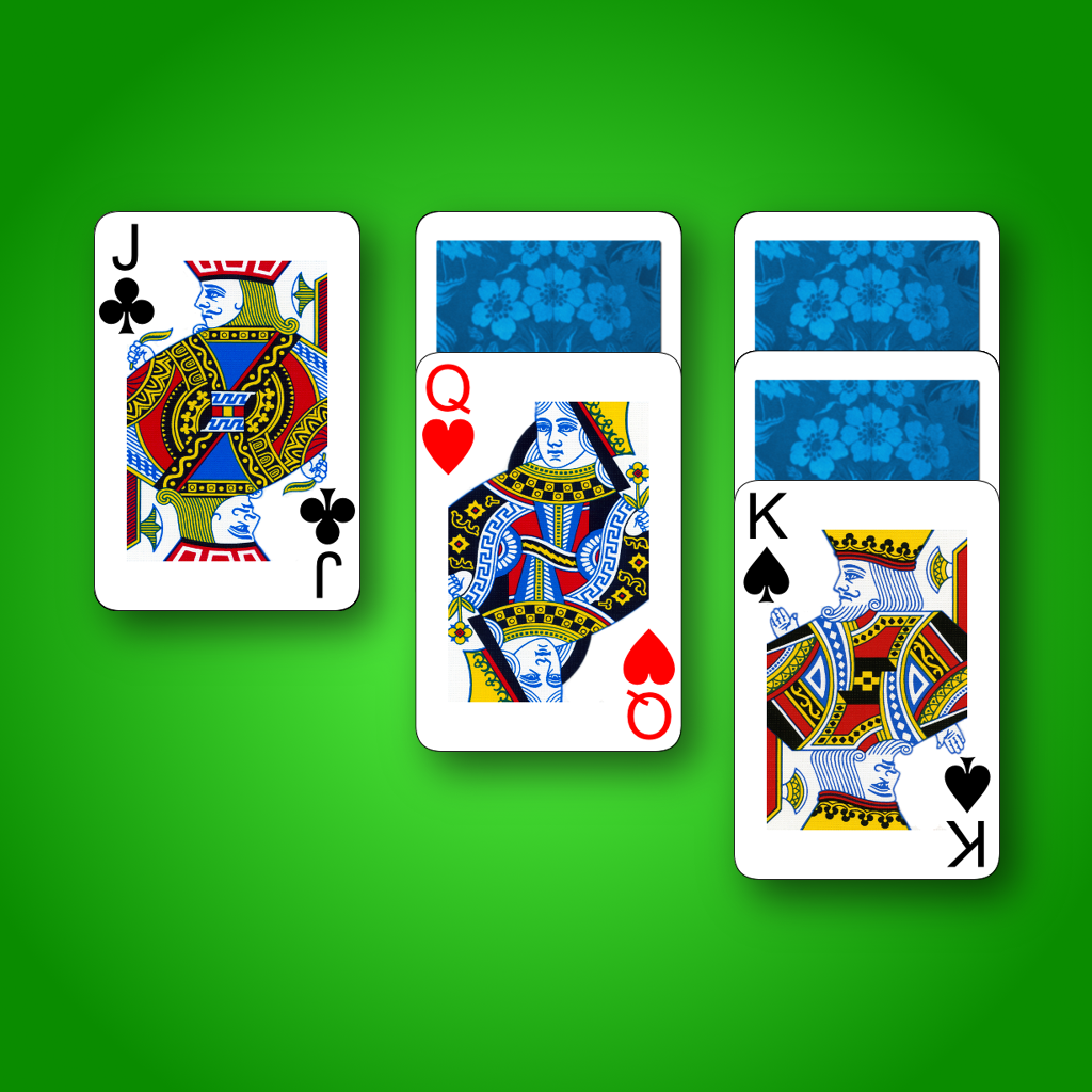 3 card solitaire klondike green felt
