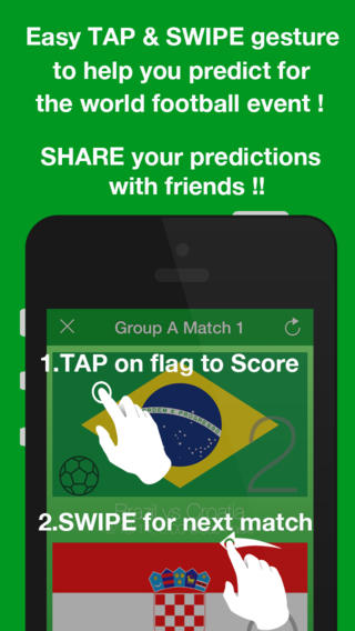 Tap Predictor Brazil helps you guess and share your scores and teams for the biggest football event