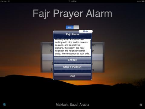 "Screenshots of منبه صلاة الفجر Fajr Alarm - Year round Dawn time calculator and muslim prayer clock for the ""four seasons"" for iPad"