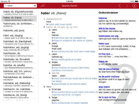 Gyldendals Spansk Ordbog - Large iPad Screenshot 1