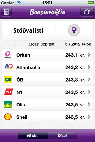 Bensínvaktin app screenshot