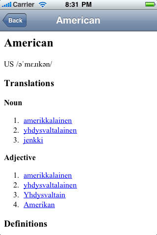 Finnish-English Translate Dictionary iPhone Screenshot 3