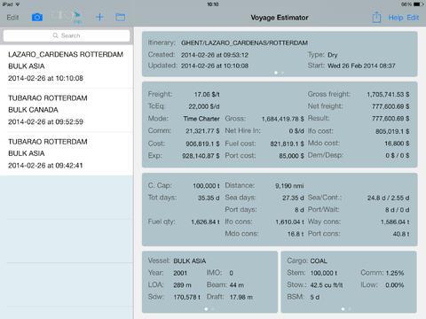 Argo Voyage Estimator