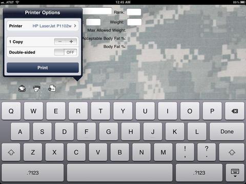 Army Body Fat Form iPad Screenshot 1