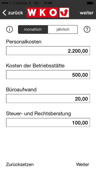 Mindestumsatzrechner. Eine Anwendung der Wirtschaftskammer Österreich.