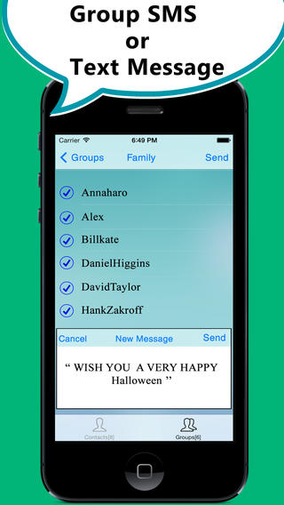 SMS 2 Group - Manage Groups and Quickly send text message or sms to groups